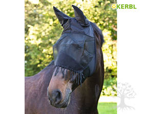 Kerbl Fly Mask with Ear Protection Cord Black - Kärpäshuput, hapsut, turpasuojat - 321267L - 2