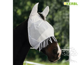 Kerbl Fly Mask with Ear Protection Cord White - Kärpäshuput, hapsut, turpasuojat - 321382L - 1