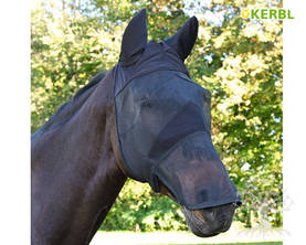 Kerbl Fly Mask with Nose & Ear Protection Black - Kärpäshuput, hapsut, turpasuojat - 321273L - 1